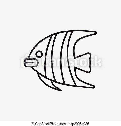 fish line icon - csp29084036