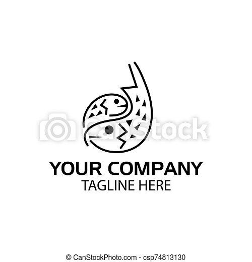 Fish line logo, flat design. Vector Illustration on white background - csp74813130