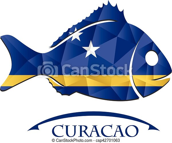 fish logo made from the flag of Curacao - csp42701063