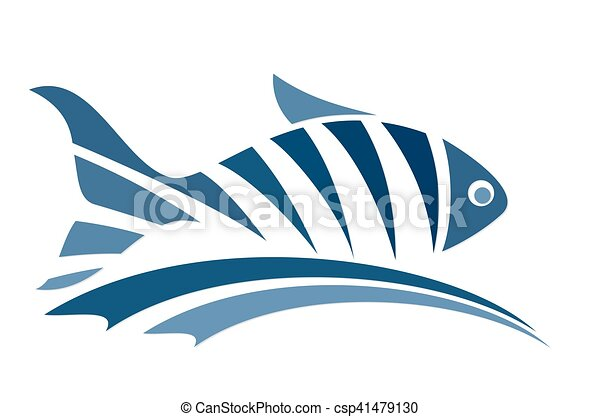 Line Art Of Fish : Fish logo with wave. abstract blue sea vectors
