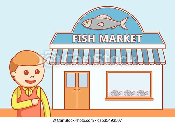 Fish market doodle illustration.