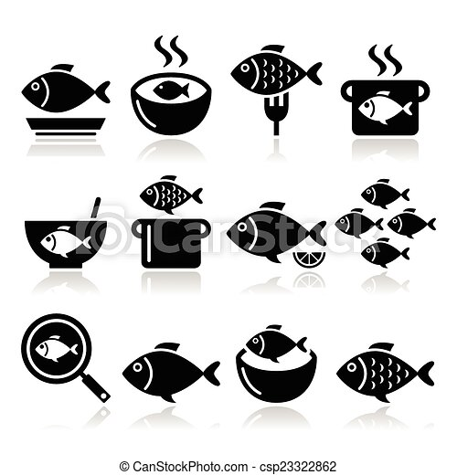 Fish meals icons soup chowder vector food icons set for Ankers fish fry