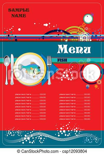 fish, menu, restaurant, (cafe) - csp12093804