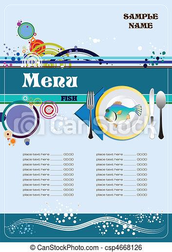 fish, menu, restaurant, (cafe) - csp4668126