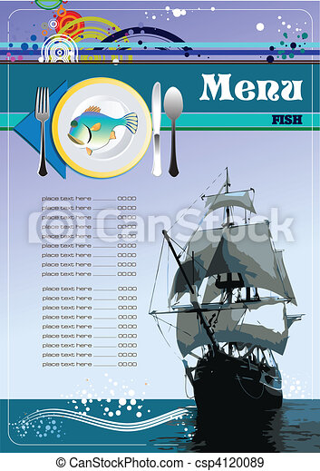 fish, menu, restaurant, (cafe) - csp4120089