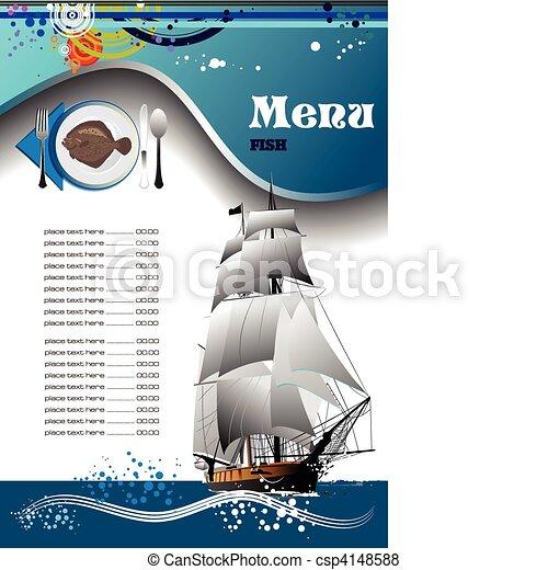 fish, menu, restaurant, (cafe) - csp4148588