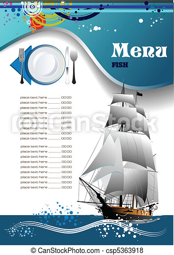 fish, menu, restaurant, (cafe) - csp5363918