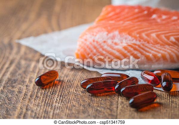 Fish oil capsules with omega 3 - csp51341759
