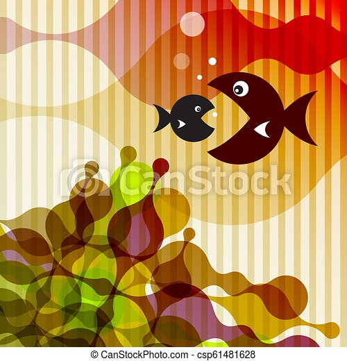 Fish on Retro Background - Vector - csp61481628