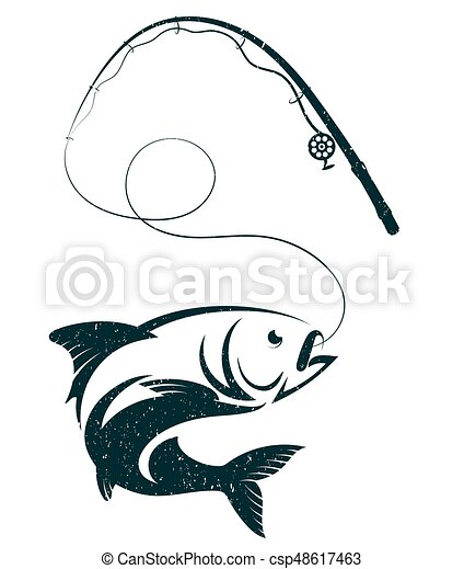 Fish on the hook and fishing rod - csp48617463