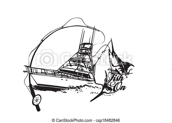 Fish On Vector Offshore Sport Fishing Boat With Fish Breaking Water Vector