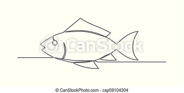 Fish One line drawing - csp59104304