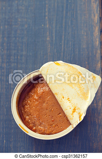 fish pate on blue wooden background - csp31362157