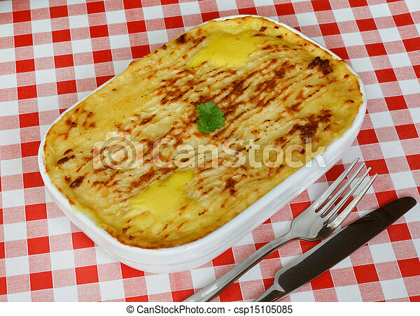 Fish pie on cafe table - csp15105085