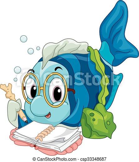 Fish Reading - csp33348687