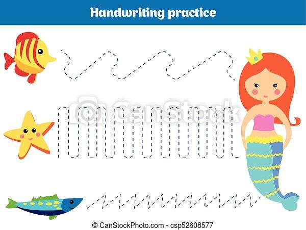 Fish., seite, färbung, illustration., kinder, farbe, zahl, aktivität ...