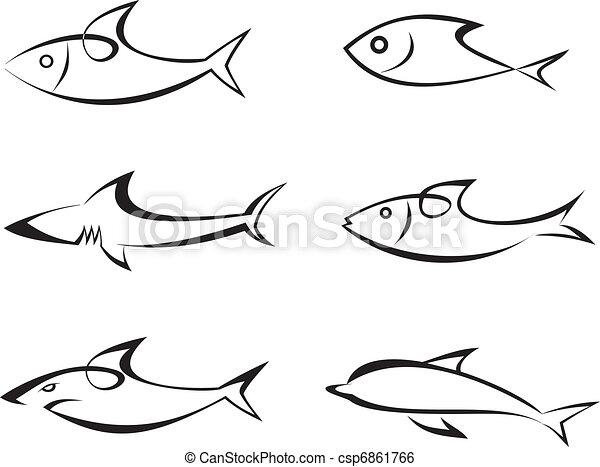 Fish - set of vector icons - csp6861766