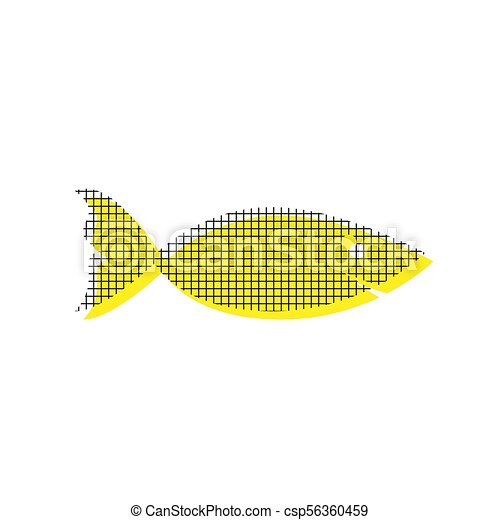 Fish sign illustration. Vector. Yellow icon with square pattern - csp56360459