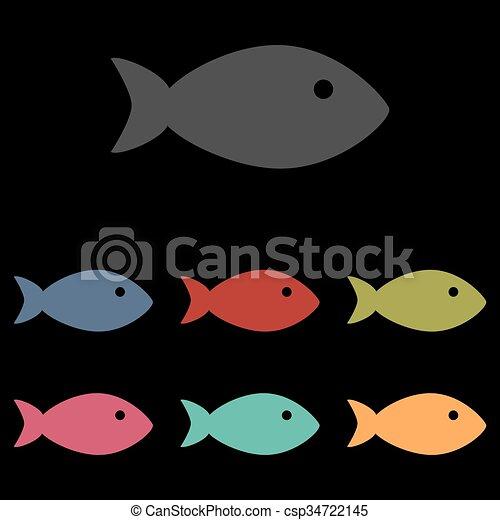 Fish sign on black - csp34722145
