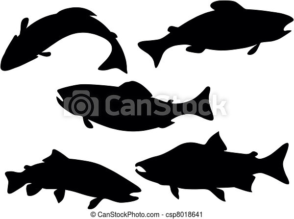 fish silhouette fish black illustration wildlife trout vector rh canstockphoto com free fish silhouette vector fish silhouette vector free