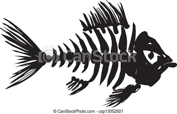 Line Art Of Fish : Primitive rough image of fish skeleton in black on a white