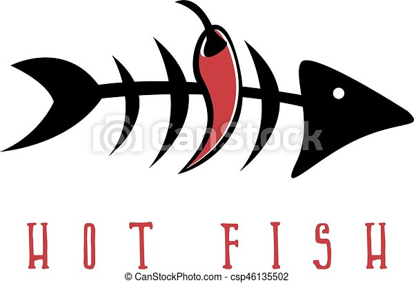 Fish skeleton with chili pepper vector design template.
