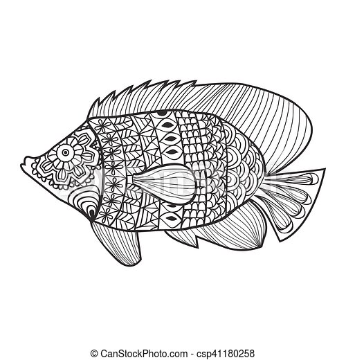 Fish Style Design For Coloring Book