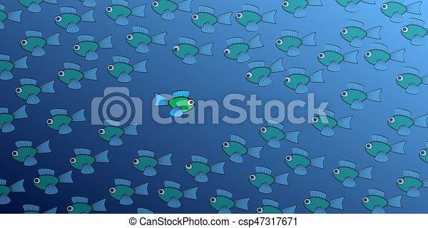 Fish Swimming Against The Tide Comic - csp47317671