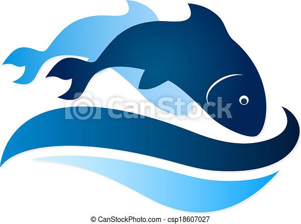 fish, symbole, vagues - csp18607027