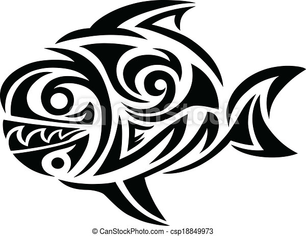 Line Art Of Fish : Fish tattoo. tribal art vector design vectors illustration