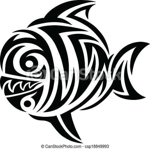 Fish tattoo tribal - csp18849993