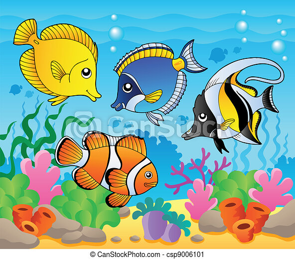 fish theme image 3 vector illustration