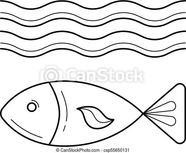Fish Under Sea Wave Vector Line Icon