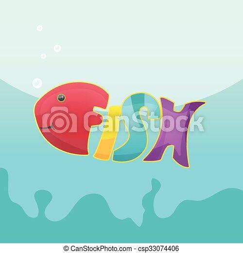 fish, vecto, jelkép, jel, betűtípus, karikatúra - csp33074406