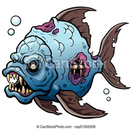 fish vector illustration of cartoon monster fish
