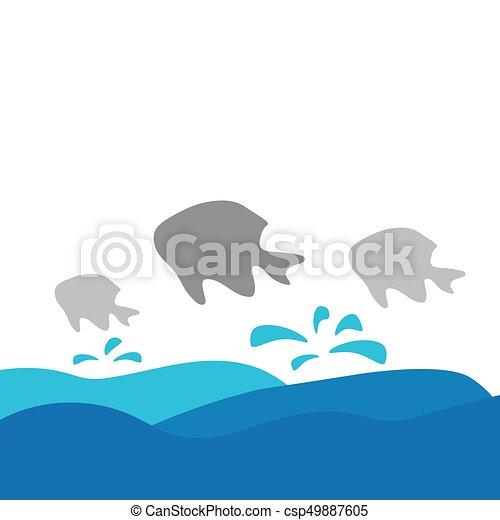 fish, vektor, tenger, ábra, lenget - csp49887605