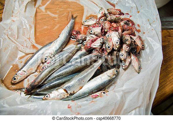 fish vendor cleaning fish - csp40668770