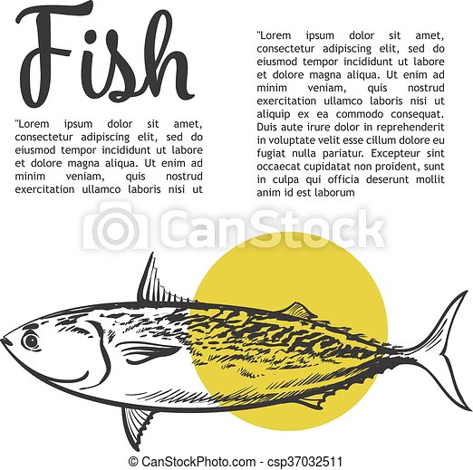 Fish with a yellow spot and lettering inscription - csp37032511