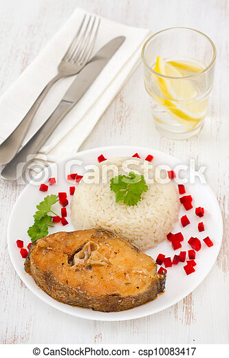 fish with boiled rice on the white plate - csp10083417