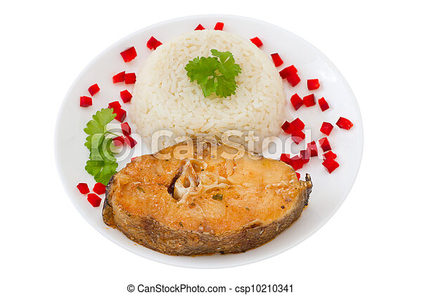 fish with boiled rice on the white plate - csp10210341