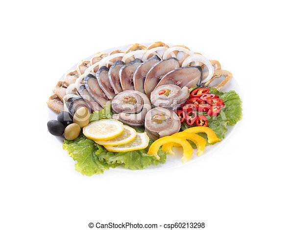 fish with vegetables, anion red pepper - csp60213298