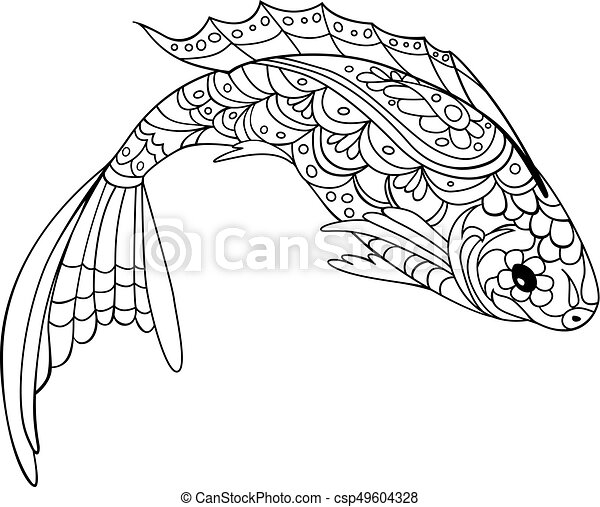 Fish Zentangle Style Coloring Book For Adult And Kids Antistress