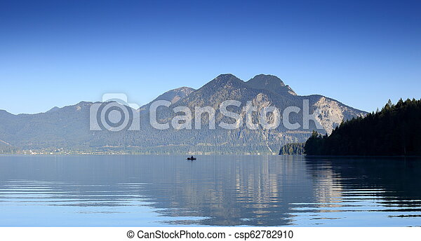 fisher boat on a lake - csp62782910