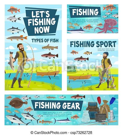Fisher catching fish, fishing sport gear - csp73262728