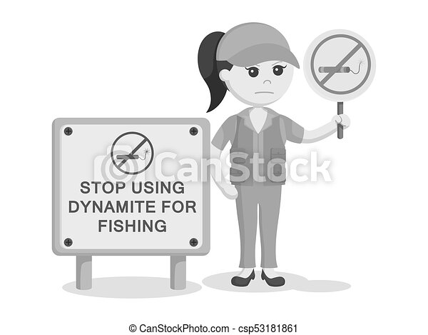 Male Fisherman With Prohibited Dynamite Fishing Sign In Circle.. Royalty  Free Cliparts, Vectors, And Stock Illustration. Image 75540744.