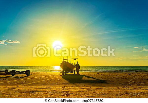 fisherman at work - csp27348780
