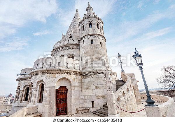Fisherman Bastion, Buda Castle in Budapest, Hungary - csp54435418