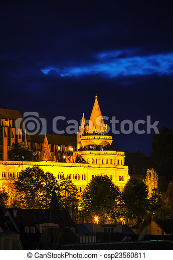 Fisherman bastion in Budapest, Hungary - csp23560811