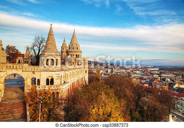 Fisherman bastion in Budapest, Hungary - csp33887373
