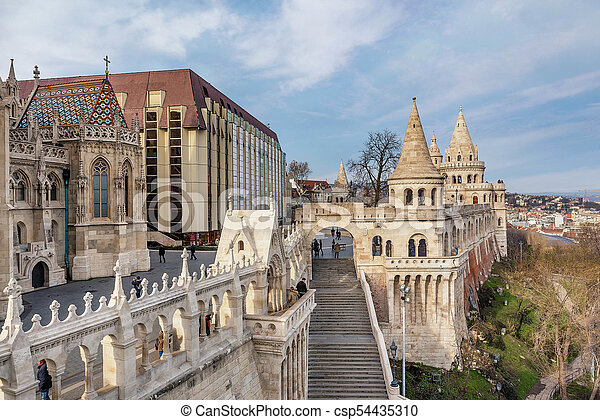 Fisherman Bastion in Budapest, Hungary - csp54435310